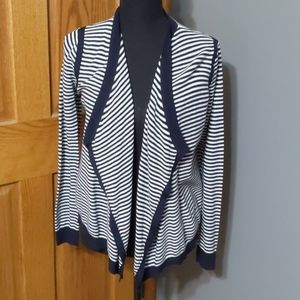 LOFT Cotton Cardigan with Navy and White Stripes